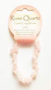 Crystal Energy - Rose Quartz - Love - Gemstone Chip Bracelet